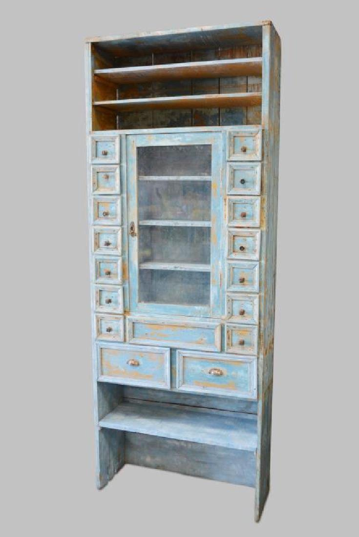 "Painted Cupboard w/ Drawers 94 1/2""H,   36 1/2""L,   13"
