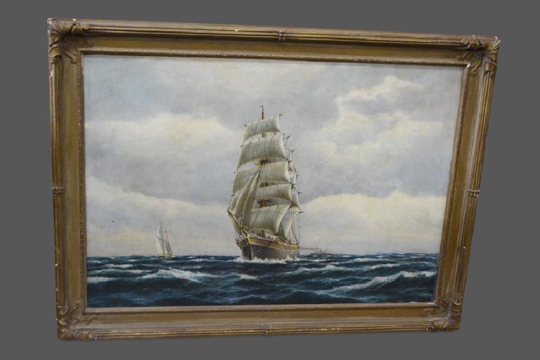 """Oil on Canvas Ship 35""""  x   26"""""""