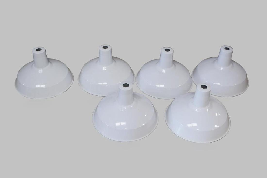 "6-Piece Industrial Porcelain Shade Lot 9 1/2""H,   13"""