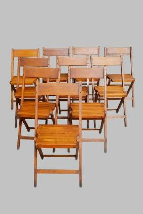 """10-Piece Lot Wooden Folding Chairs 30""""H,   16""""  x   19"""""""