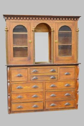"Early 2-Piece Apothecary Cabinet 88 1/4""H,   70""L,   23"