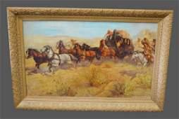 """Framed Western Print 29"""" x 43 1/2"""""""