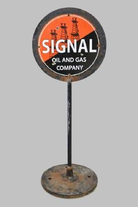 "Signal  Oil and Gas Sidewalk Sign 56""H,   18"" diam."