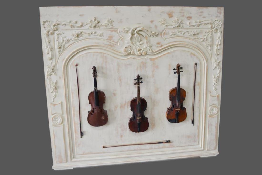 "Mounted Violins on Carved French Board 62""  x   69"""