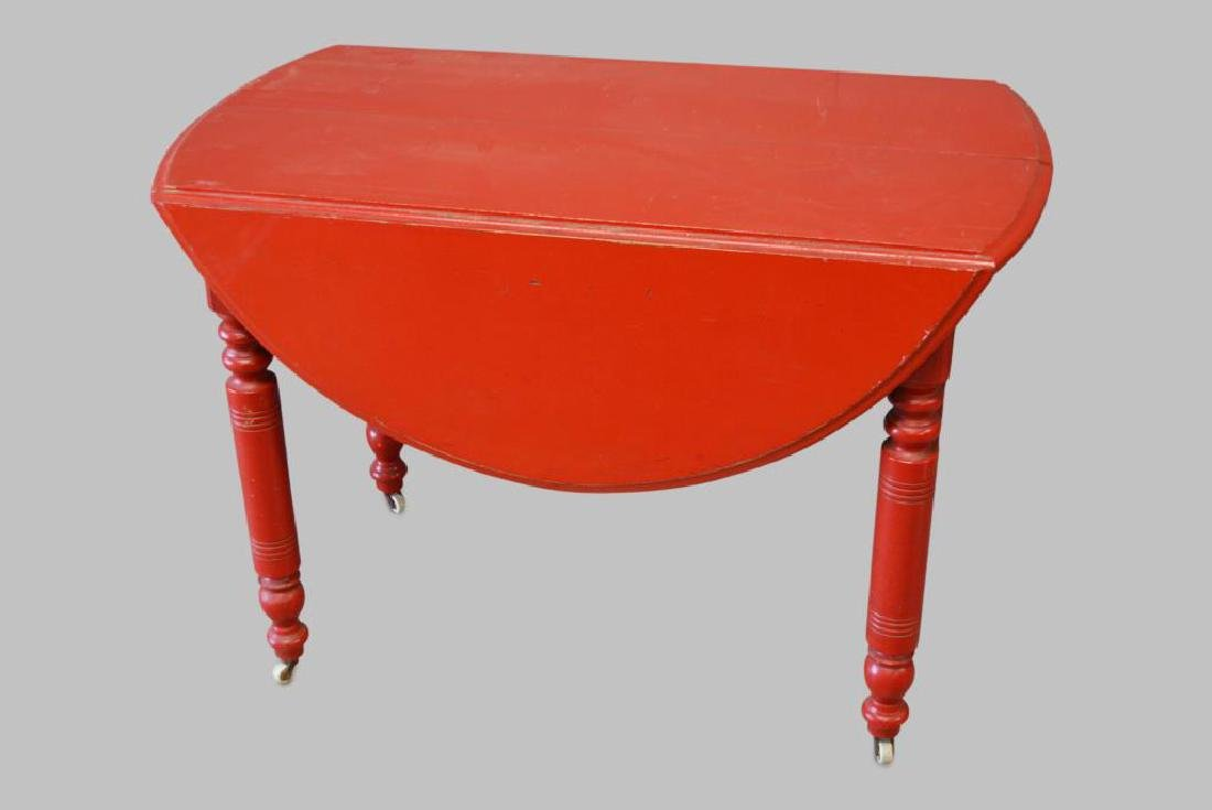"""Red Drop Leaf Table 29 1/2""""H,   42 1/4""""  x   23"""""""