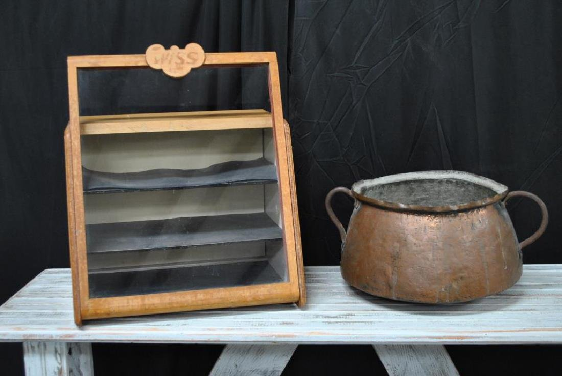 "2-Piece Lot: Display Case & Early Copper Pot 20""H,   17"