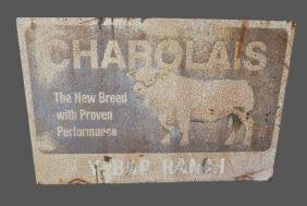 "Charolais Ranch Sign metal,  double sided 48""  x   71"