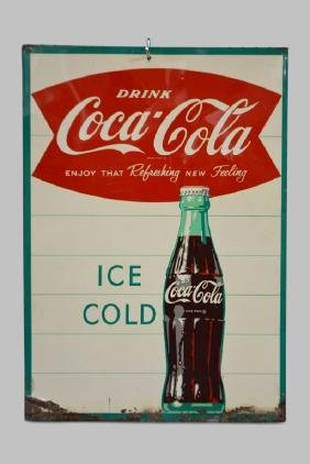 "Coca-Cola Sign  -    metal 28""  x   29 1/2"""