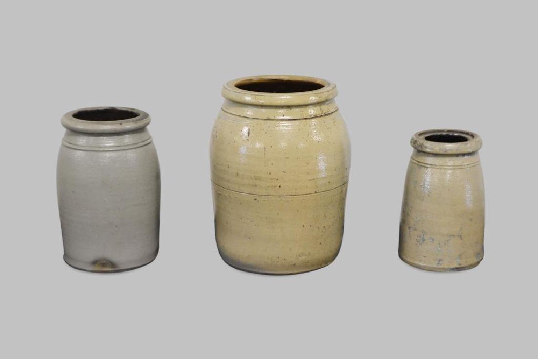 "3-Piece Decorated Stoneware Lot 9 1/2""H,   6 1/2"" diam. - 2"