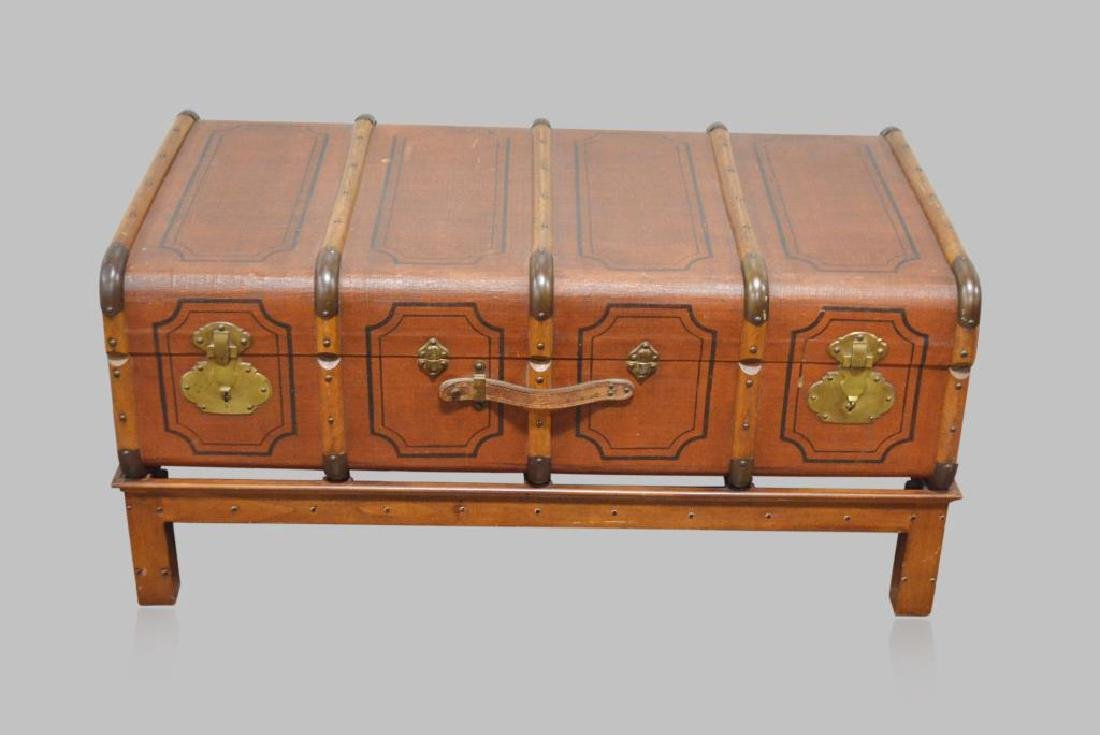 "English Traveling Trunk on Stand 21 1/2""H,   46""L,   23"