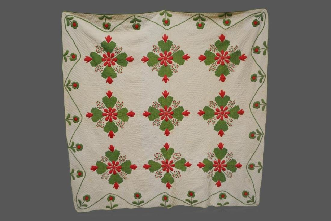 "Late 19th Cen. Pa. Appliqued Quilt 82""  x   82"""