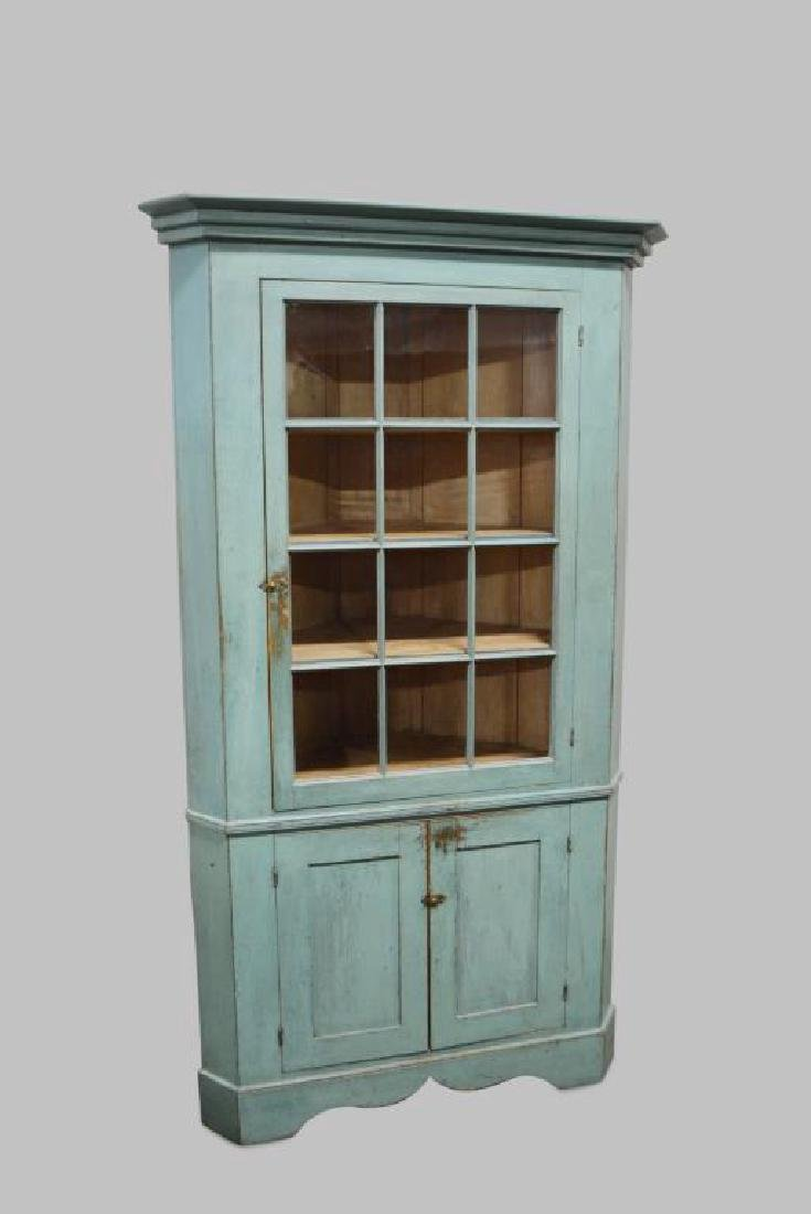 19th Cen. Pa. 12-Paned Corner Cupboard in Original