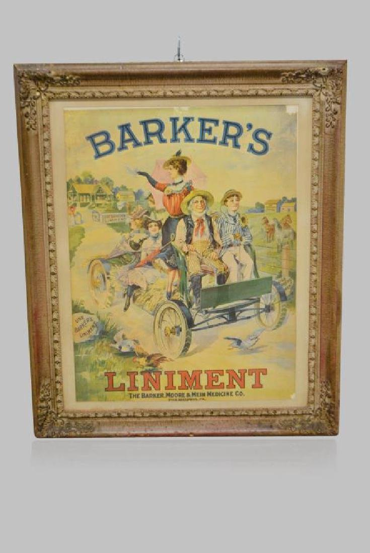 "Framed Barker's Liniment Poster 36""  x   29 1/4"""