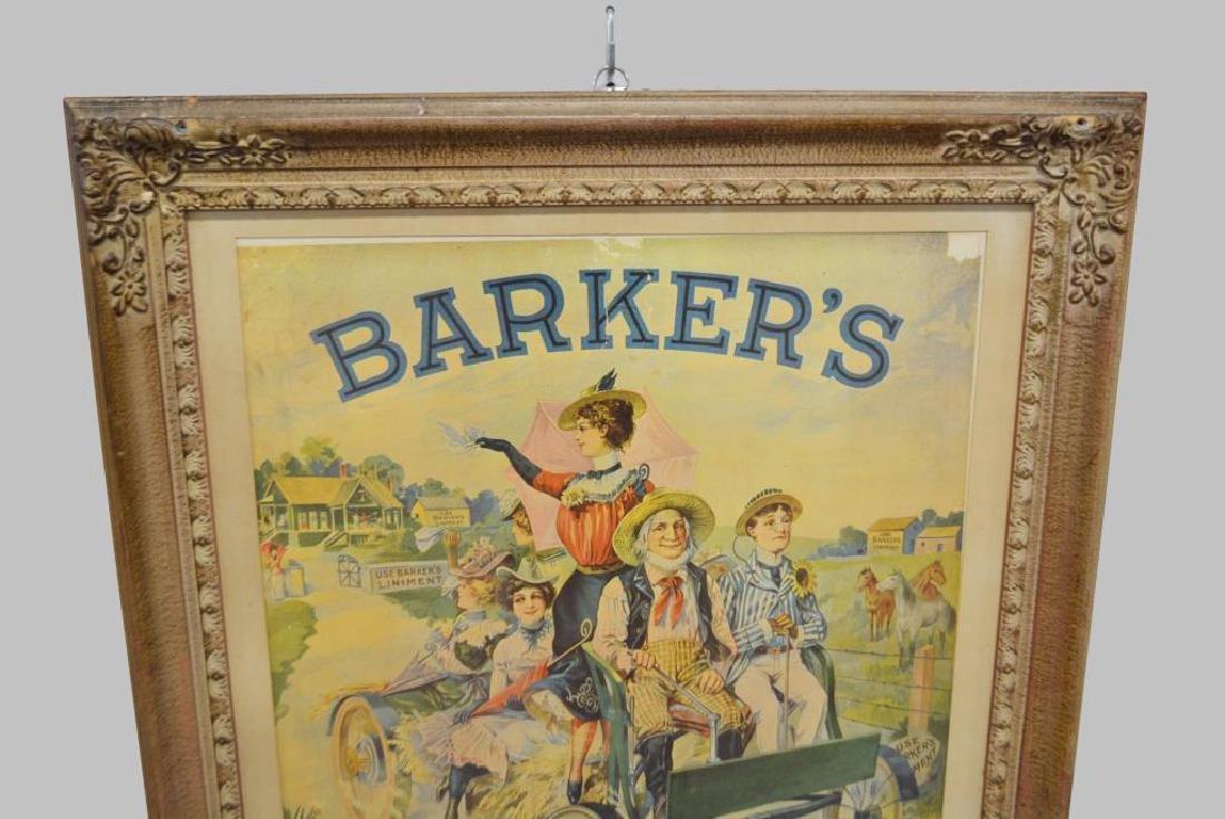 "Framed Barker's Liniment Poster 36""  x   29 1/4"" - 2"