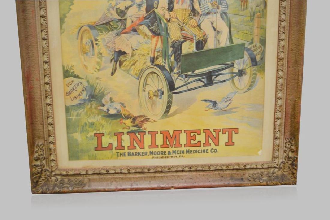 "Framed Barker's Liniment Poster 36""  x   29 1/4"" - 3"