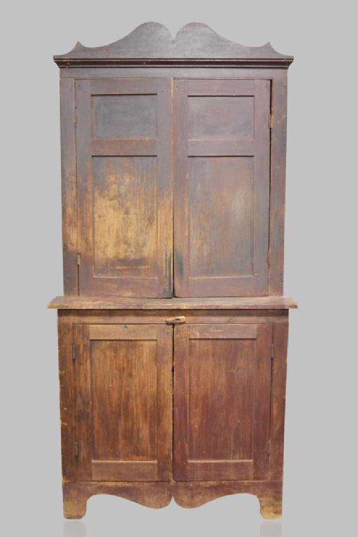 """Early Tennessee Stepback Cupboard 93 1/2""""H,   45""""L,"""