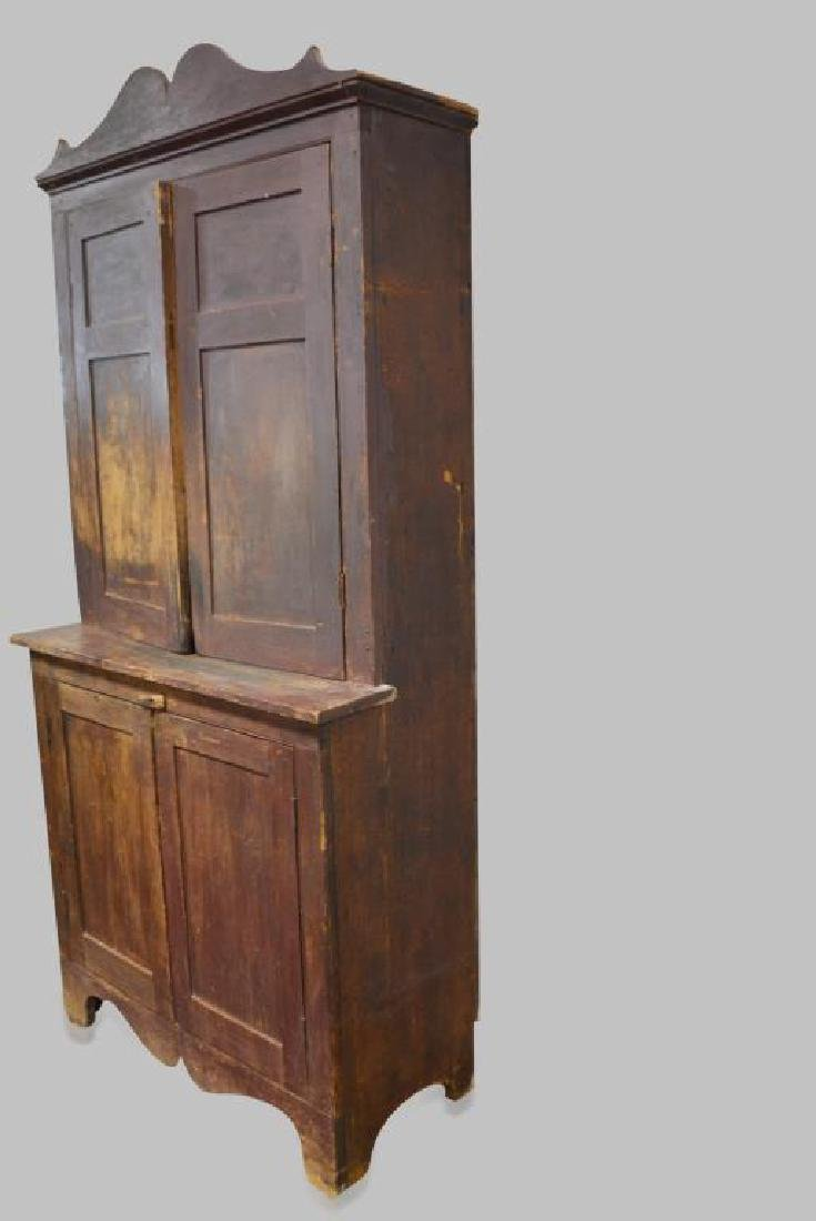 """Early Tennessee Stepback Cupboard 93 1/2""""H,   45""""L, - 2"""