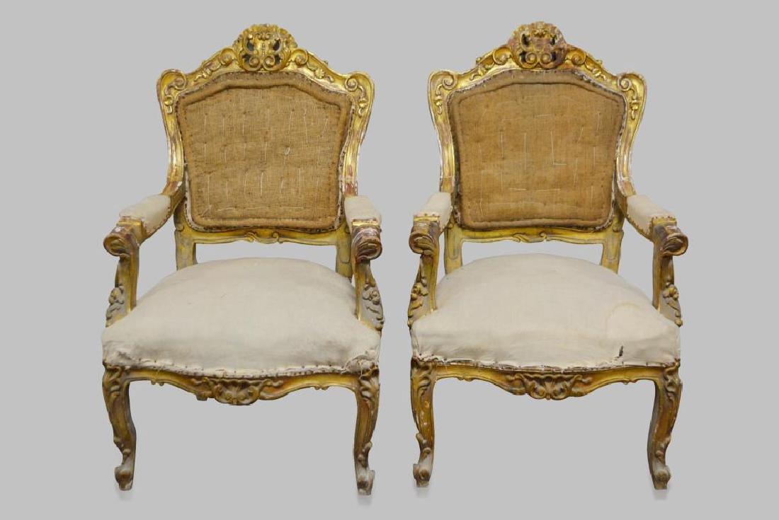 "19th C. French Gold Gilt Chair X-2 44""H,   28""  x   29"""