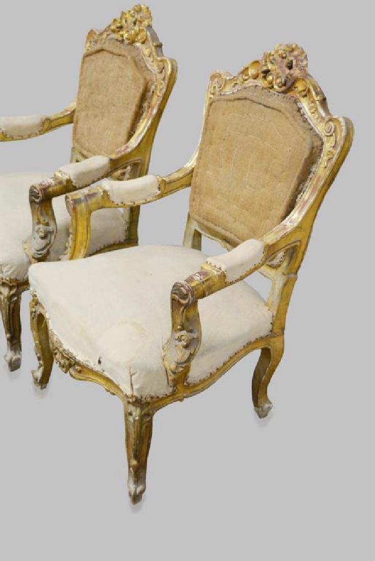 "19th C. French Gold Gilt Chair X-2 44""H,   28""  x   29"" - 2"