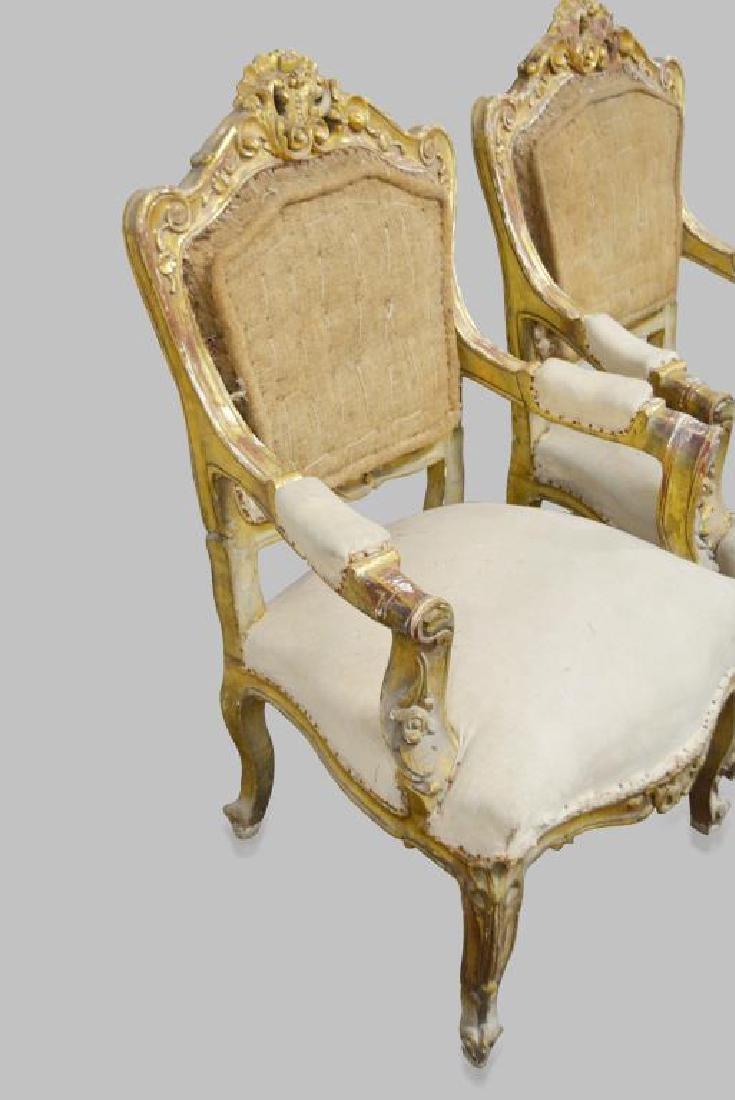 "19th C. French Gold Gilt Chair X-2 44""H,   28""  x   29"" - 3"