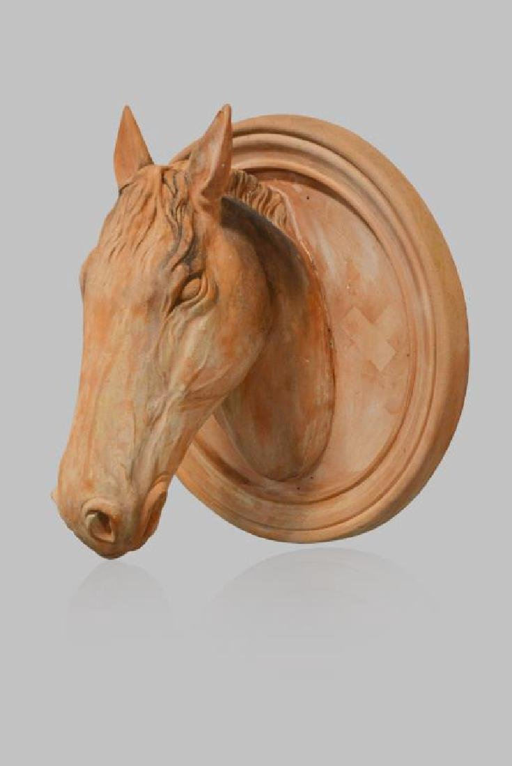 """Terra Cotta Horse Head from Stables 30""""H,   29""""  x"""