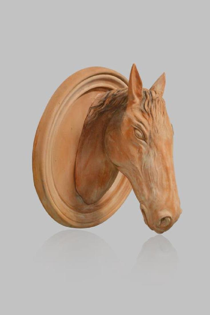 """Terra Cotta Horse Head from Stables 30""""H,   29""""  x - 2"""