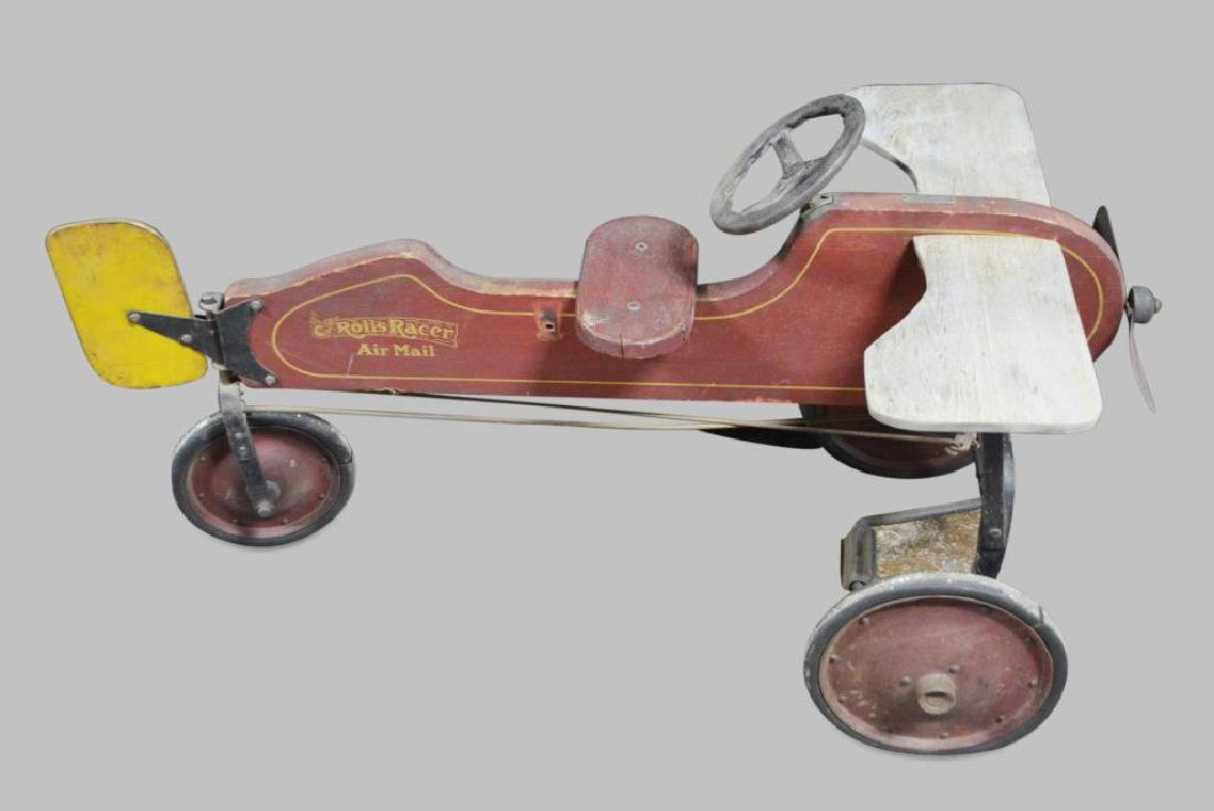 Child's Wooden Airplane Pedal Car