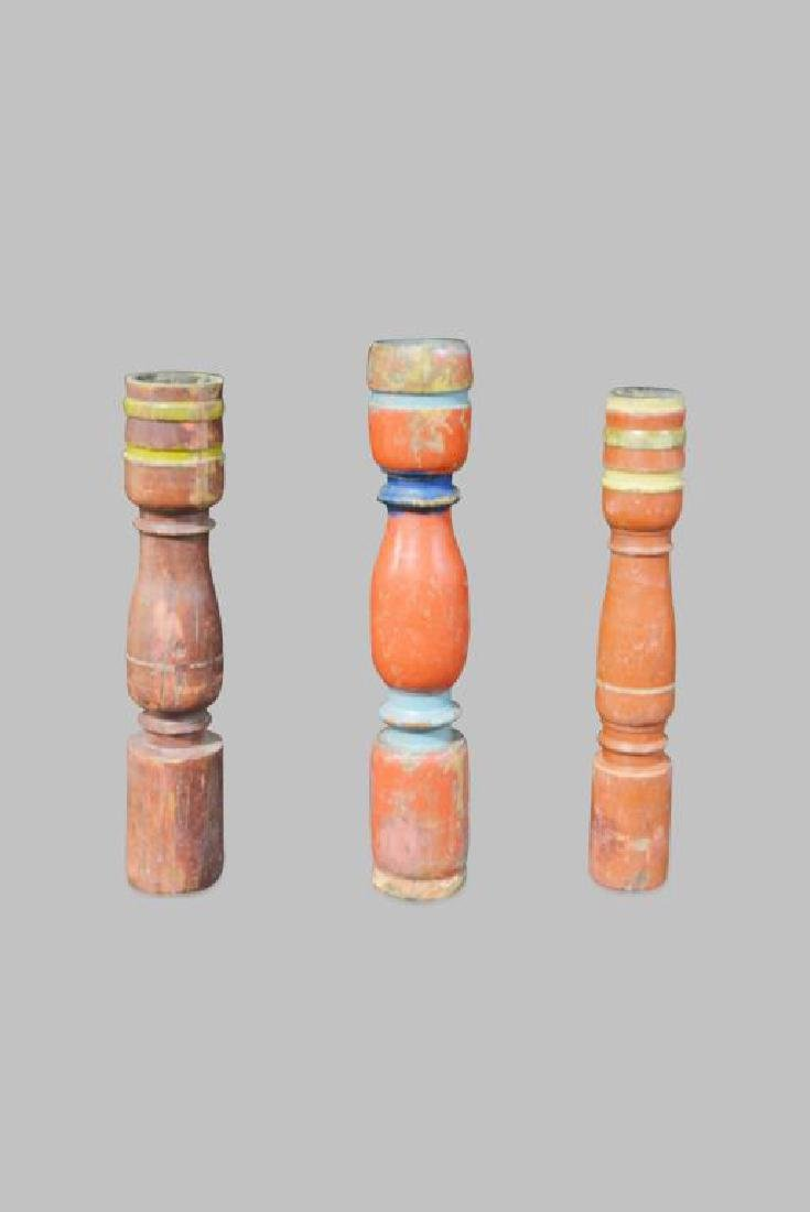 3pc. Wooden Architectural Candle Holder Lot