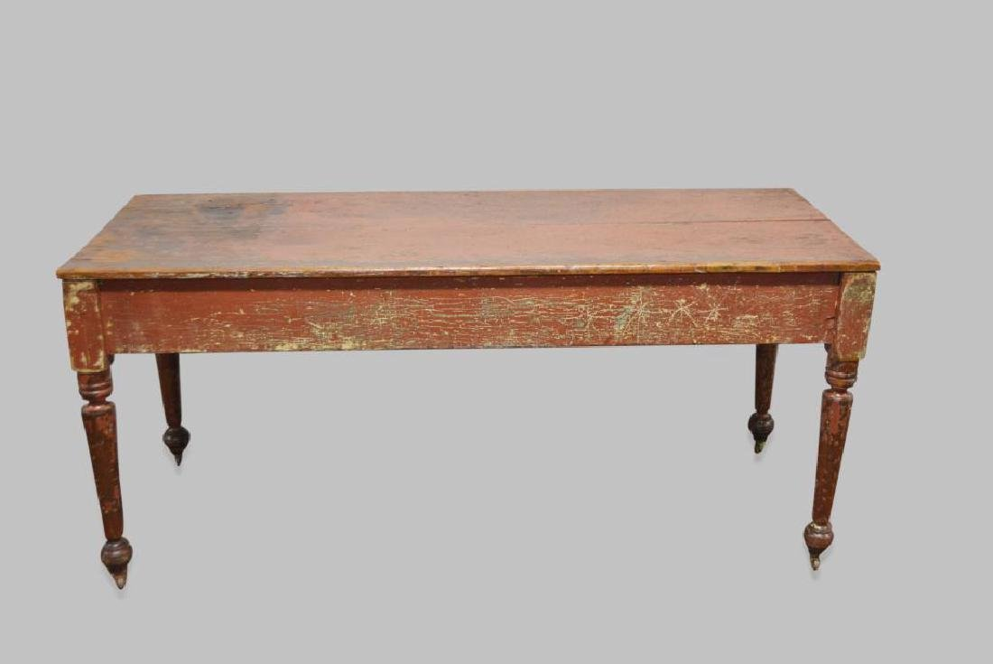 """Pa. Painted Work Table 30 1/2""""H,   68 1/2""""L,   28 1/2""""W"""