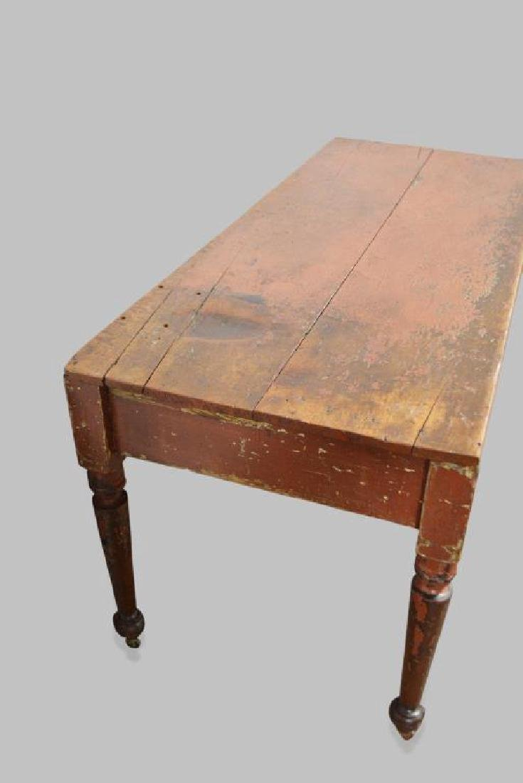 """Pa. Painted Work Table 30 1/2""""H,   68 1/2""""L,   28 1/2""""W - 3"""