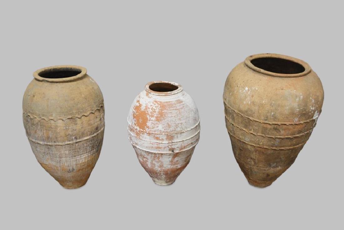 "Terracotta Olive Jar X3 30""H,   18 3/4"" diam.      /"
