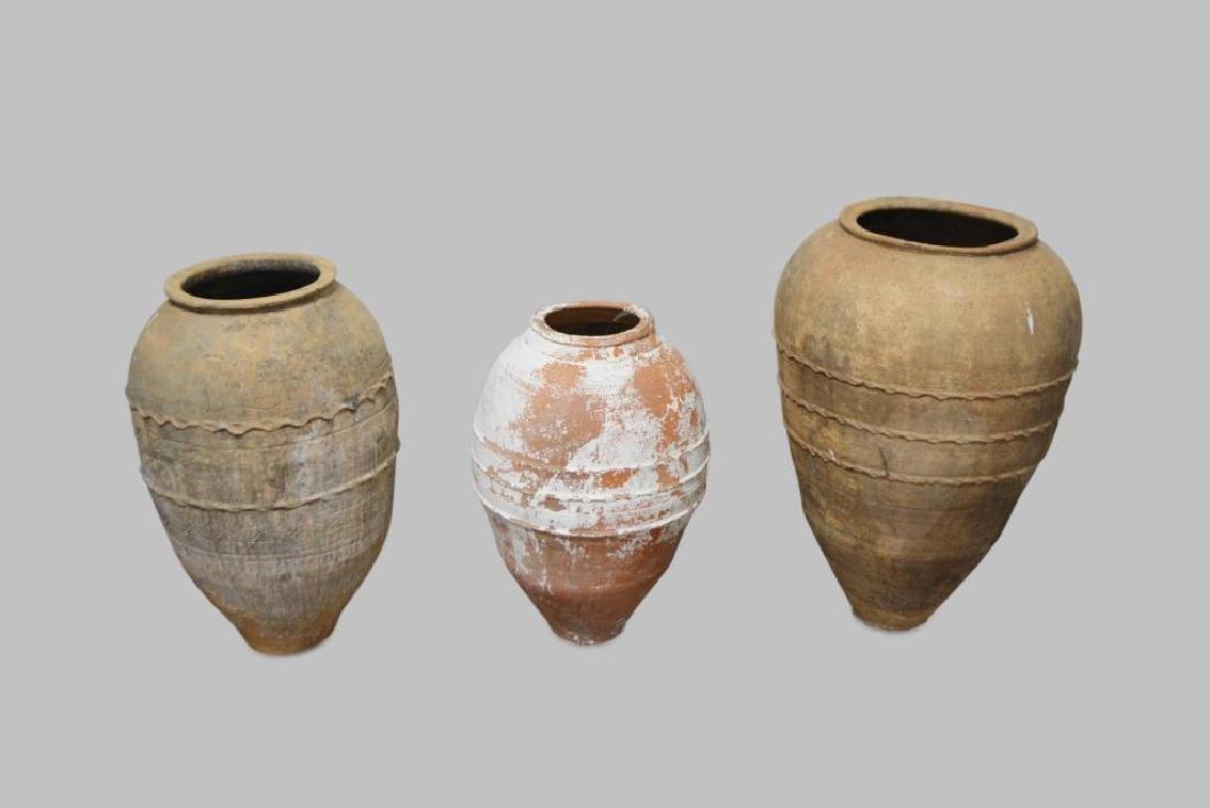 "Terracotta Olive Jar X3 30""H,   18 3/4"" diam.      / - 2"