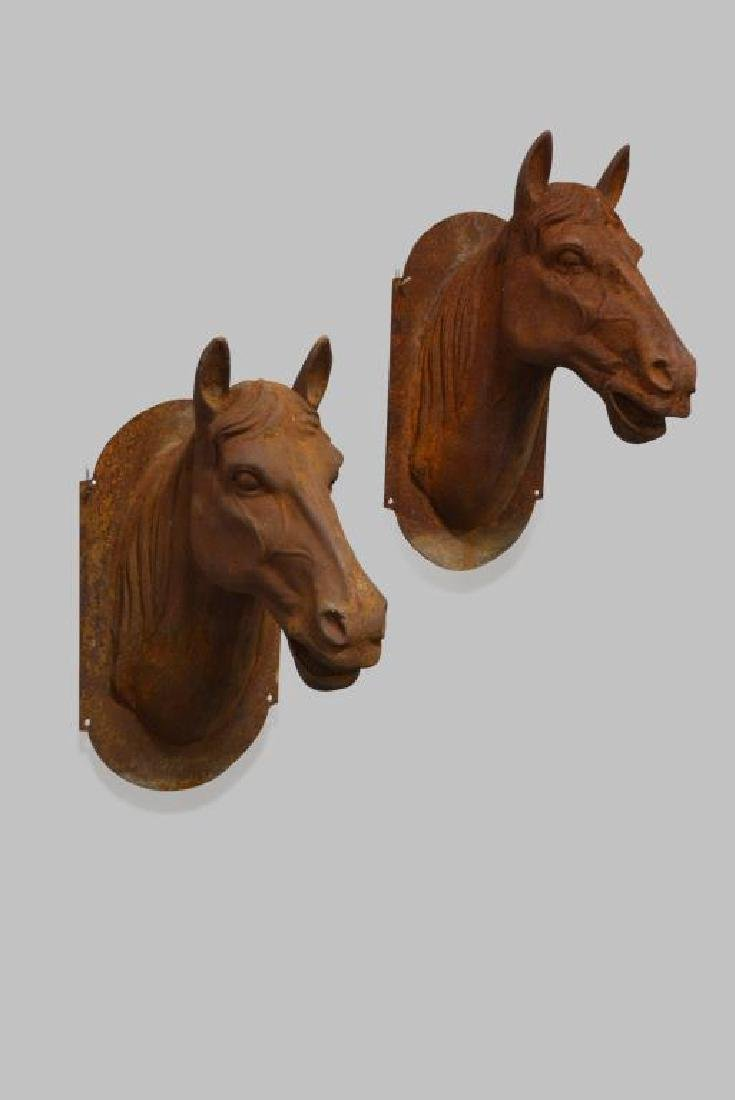"""Cast Iron Horse Head X2 25""""H,   14 1/4""""(side-side),"""