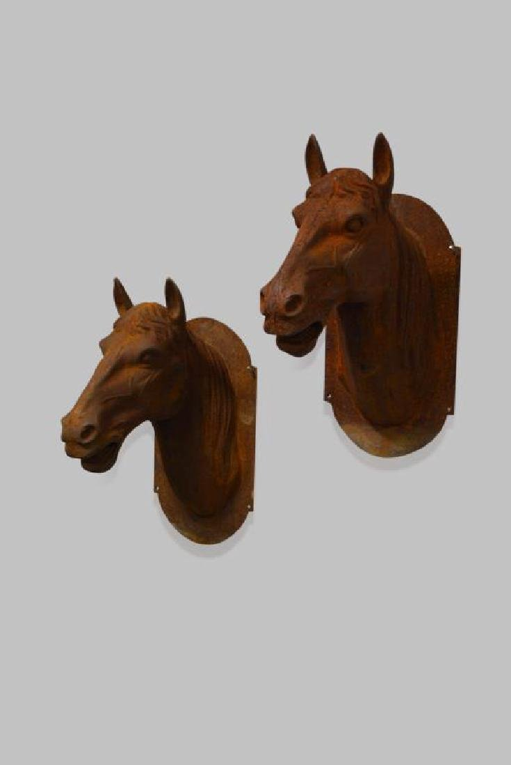 """Cast Iron Horse Head X2 25""""H,   14 1/4""""(side-side), - 2"""