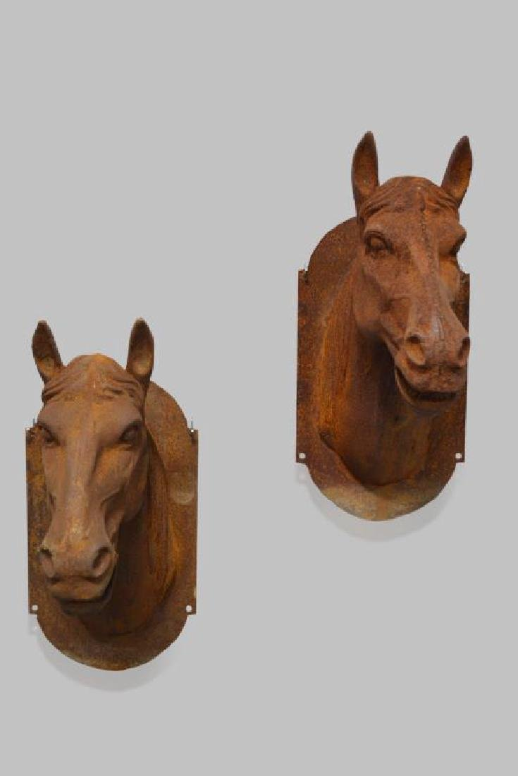 """Cast Iron Horse Head X2 25""""H,   14 1/4""""(side-side), - 3"""