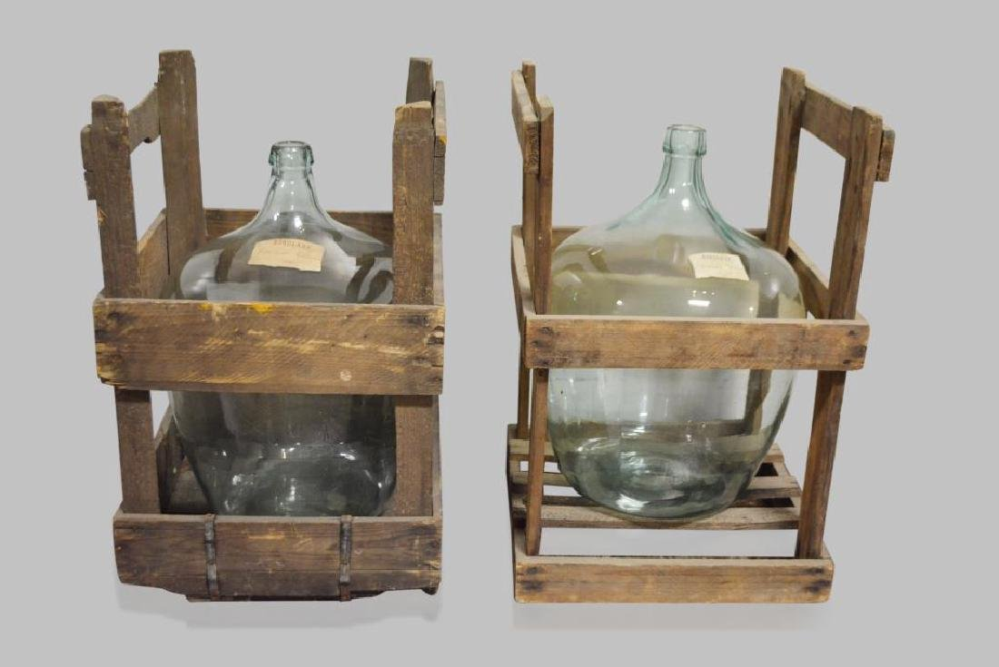"""French Glass Demijohn X2 crate -  24""""H,   15""""  x   15"""" - 2"""