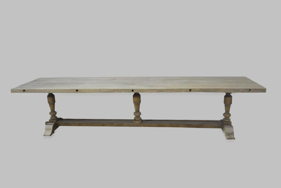 """French Work Table w/ Trestle Base 29 3/4""""H,   133""""L,"""