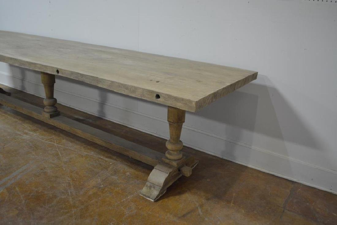 """French Work Table w/ Trestle Base 29 3/4""""H,   133""""L, - 2"""