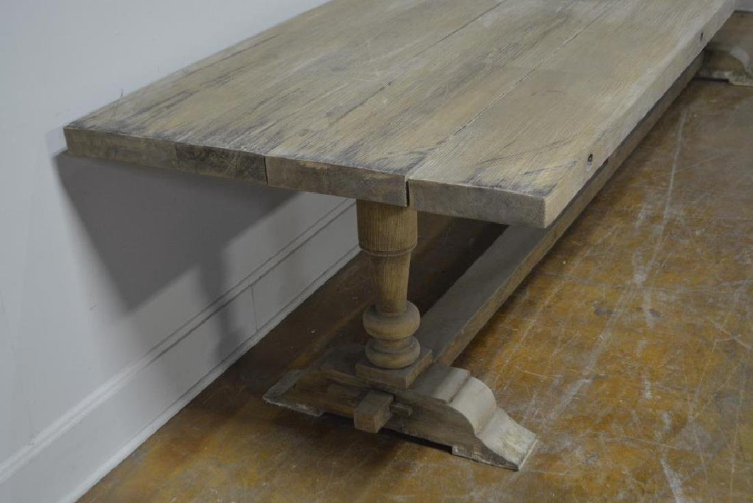 """French Work Table w/ Trestle Base 29 3/4""""H,   133""""L, - 3"""