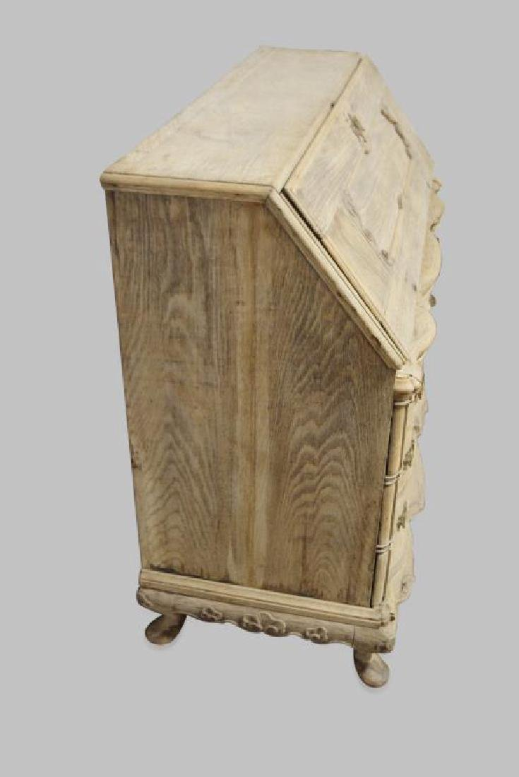 """19th Cen. Carved French Drop-front Desk 41""""H,   45""""L, - 3"""