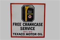 Porcelain Texaco Motor Oil sign/ single sided w/