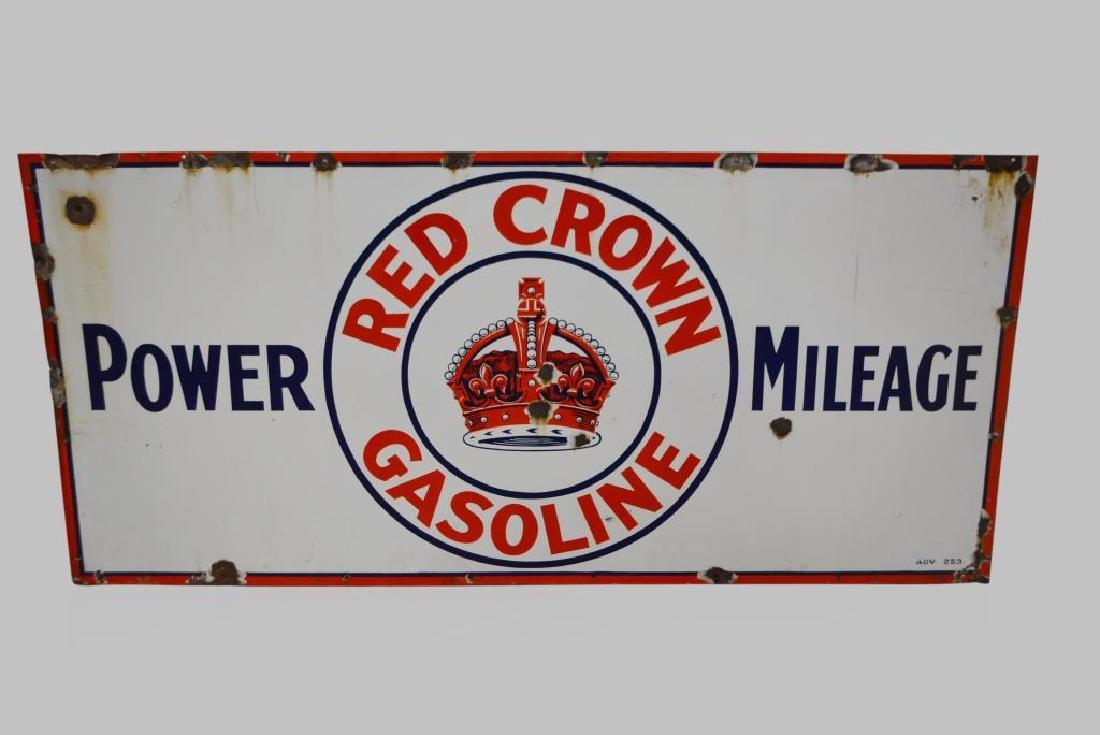 """Red Crown Gasoline Sign porcelain 28""""  x   60"""""""