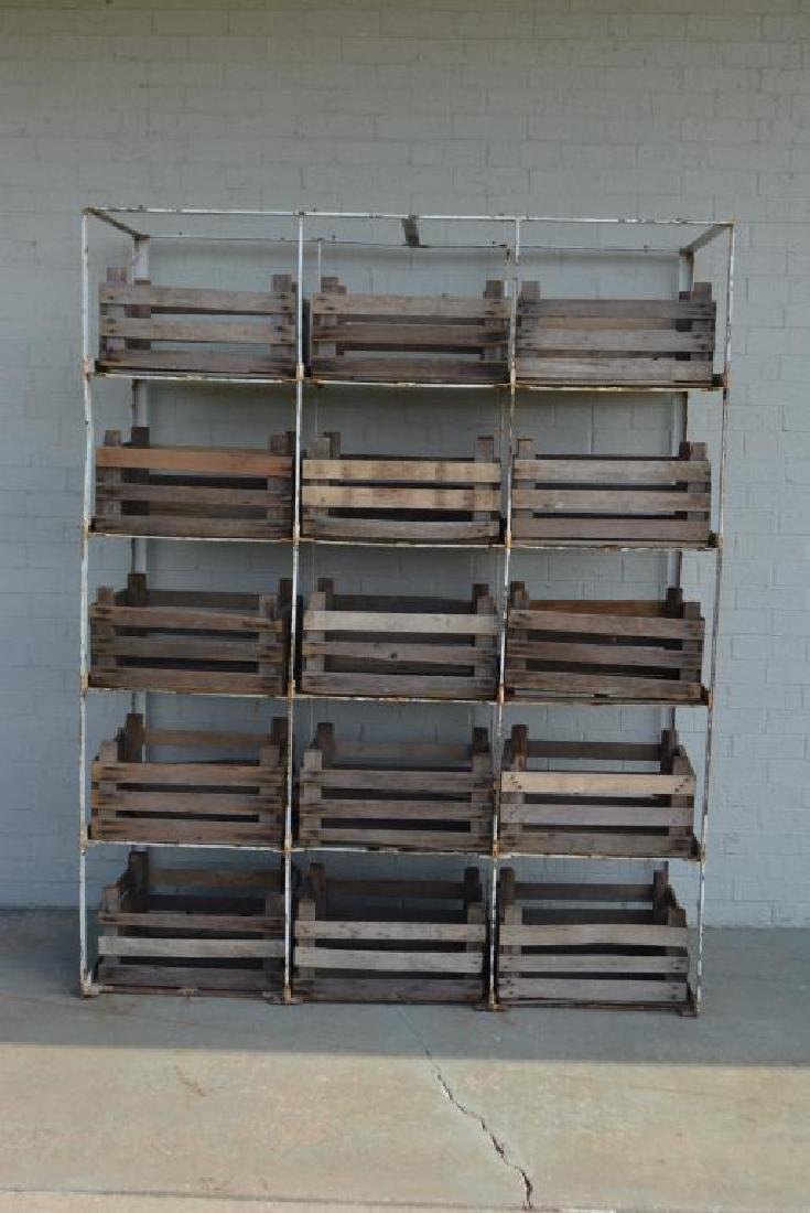 """Industrial Rack w/ Wooden Crates 81 1/4""""H,   64 1/2""""L,"""