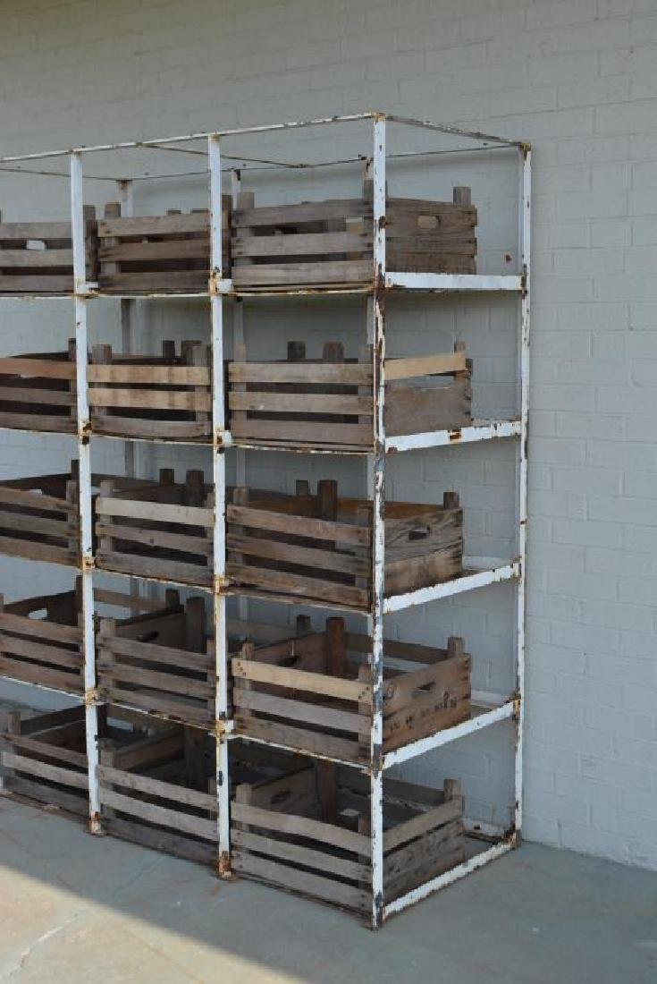 """Industrial Rack w/ Wooden Crates 81 1/4""""H,   64 1/2""""L, - 2"""