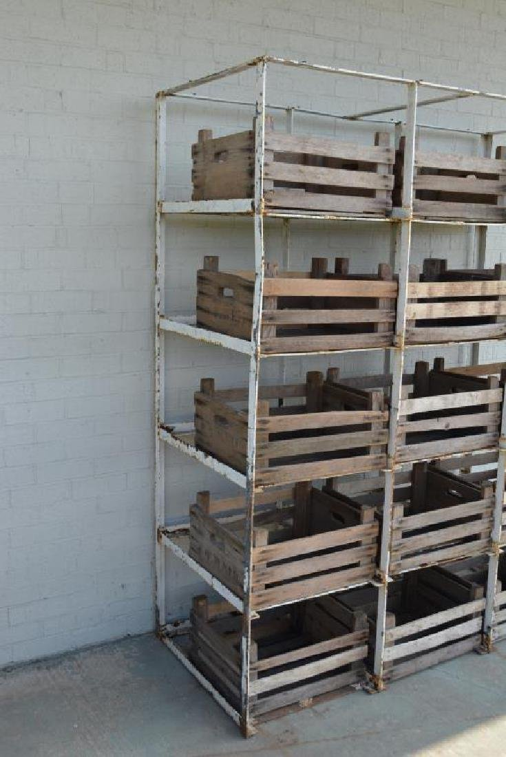 """Industrial Rack w/ Wooden Crates 81 1/4""""H,   64 1/2""""L, - 3"""