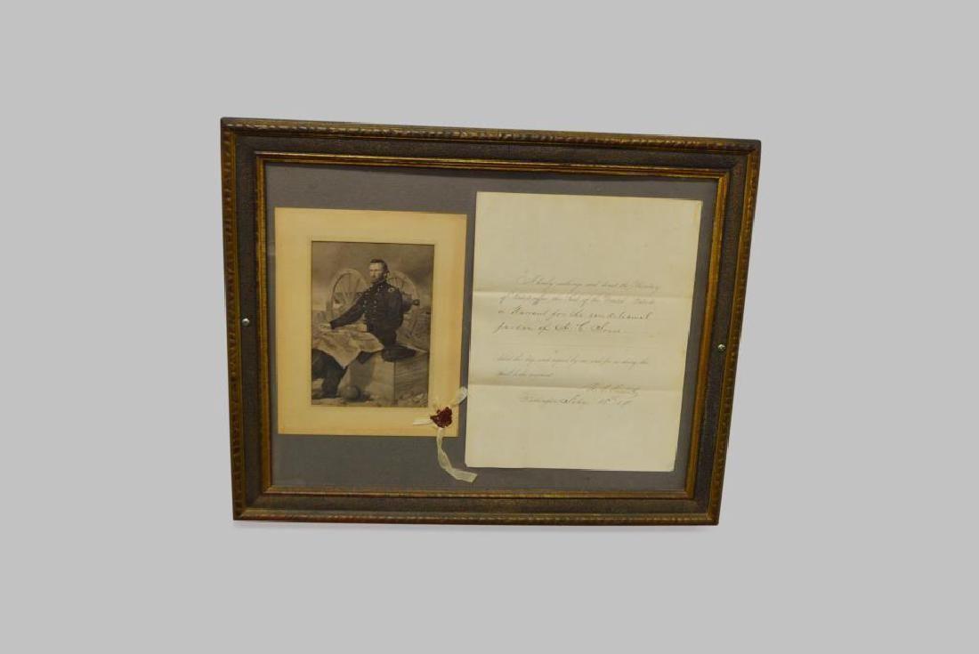 "Framed Civil War Pardon Letter 15 5/8"" x 19 5/8"""