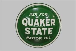 "Metal Quaker State Motor Oil Sign 24"" diam."