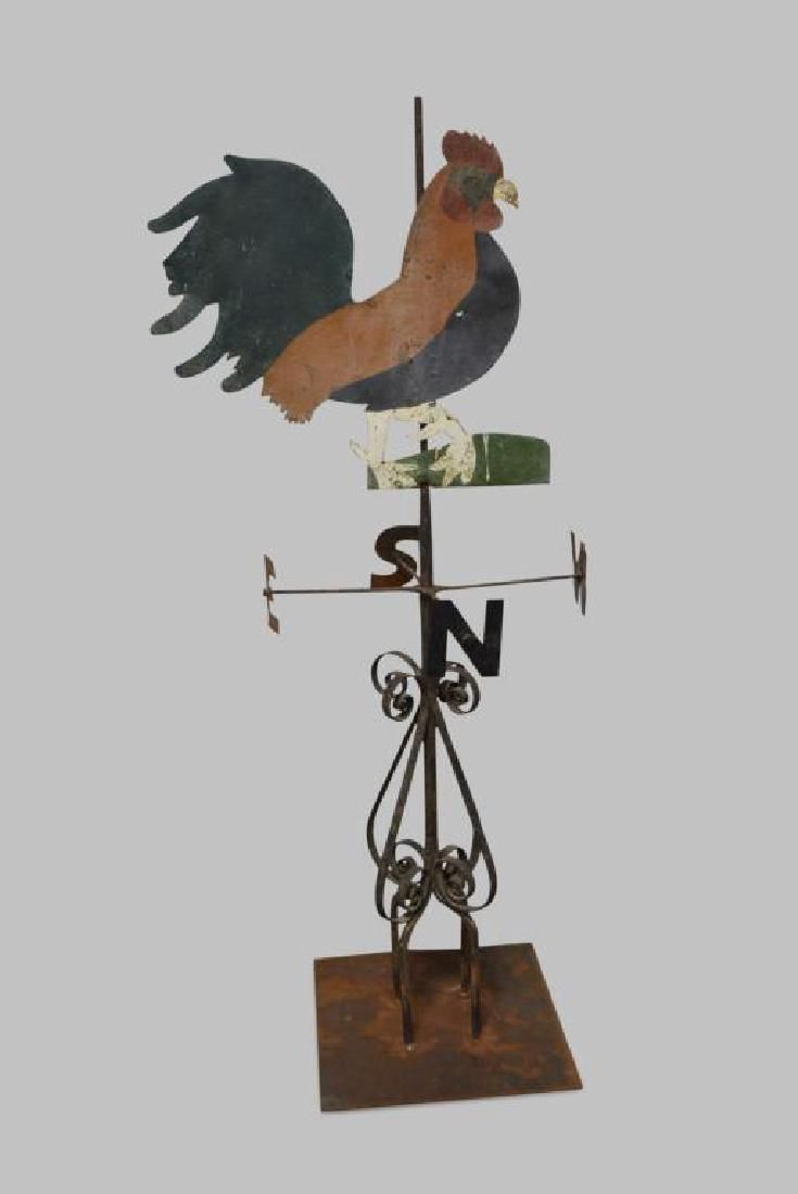 """Early Folk Art Pa. Rooster Weathervane 72 1/4""""H, 30"""""""
