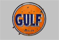 """Porcelain Double Sided Gulf Dealer Sign 66 1/2"""" x"""