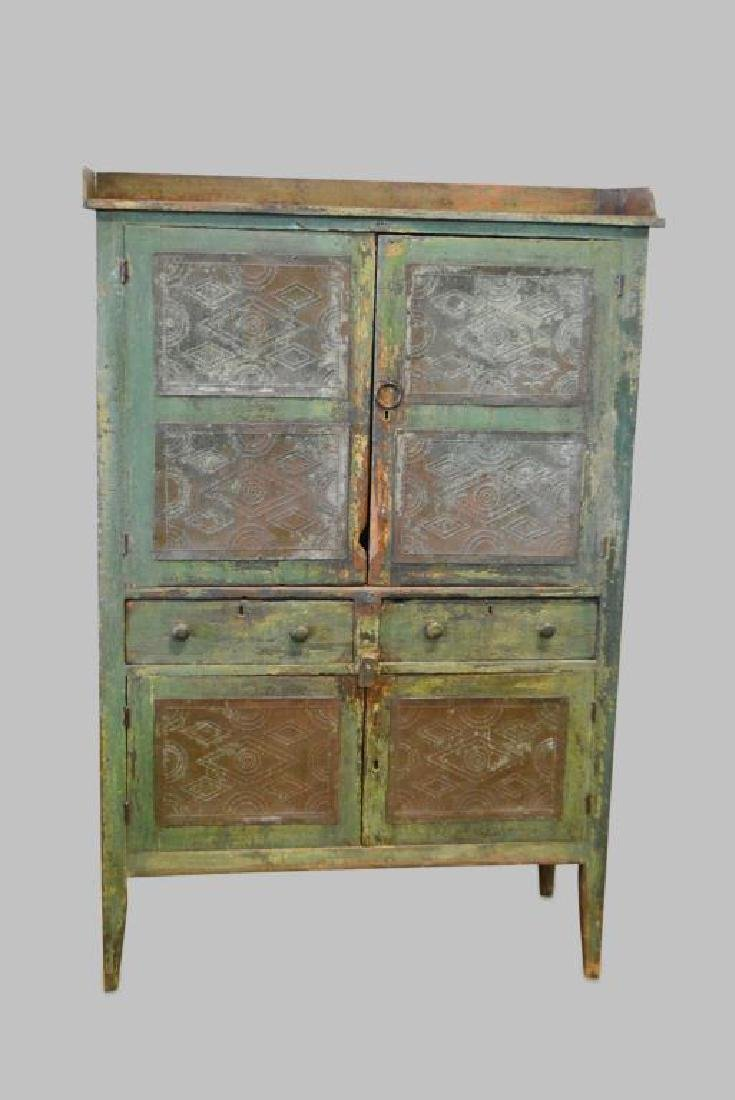 Virginia Pie Safe in old layer painted green